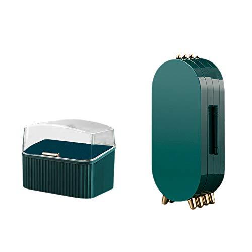 HLPIGF Caja de Almacenamiento de Joyas Plegable + Caja de Almacenamiento de LáPiz Labial 4 Puertas Pendientes Soporte de ExhibicióN Pulsera Collar Organizador Verde