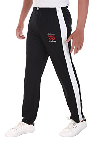 TRUE KNITMAN Stretchable Track Pants with Both Zipper Pockets - Slimfit Lower for Workout & Casual...