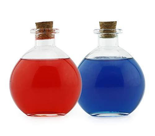 Cornucopia Brands Botellas de Cristal esféricas Redondas, Potion Bottles con corchos (2 Unidades), Ideal para Disfraces, Sales de baño, Manualidades y más.