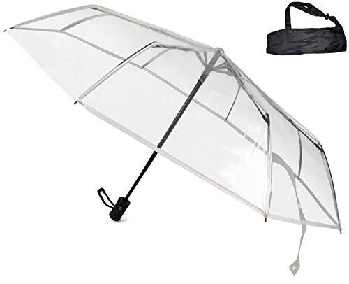 Sternenfunke Regenschirm Ø98 cm, transparent, Komfort Druckknopf, mit Tragehülle, Automatik, faltbar, klein in der Tasche – Taschenschirm auch für Hochzeiten - Rand weiß