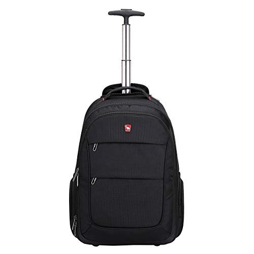 Rolling Backpack with Wheels for Women Men Travel Carry on Luggage School College Wheeled Laptop Book Bag Business Black