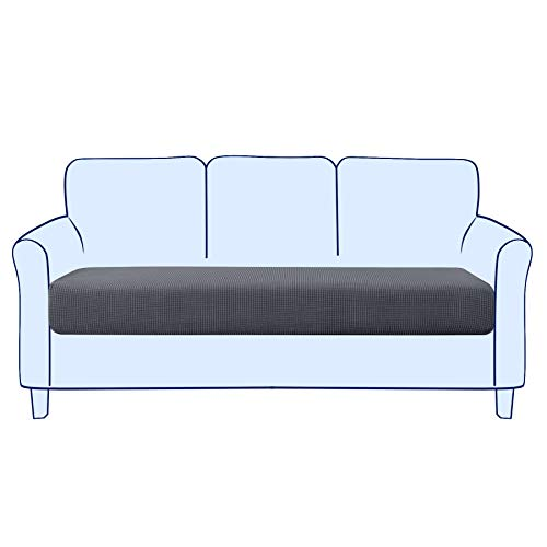 subrtex Sofa Sitzkissenbezug Stretch Sitzkissenschutz Elastischer Kissenbezüge Husse Überzug Bezug für Sofa Sitzkissen (3 Sitzer, Grau)
