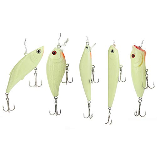 Cosiki 3D Eye Plastic Crank Lures Bait, Popper Lures Bait, 5Pcs 113g Pencil Lures Bait, For Fishing Lover Outdoor Fun Sea/Fresh Water Night Fishing
