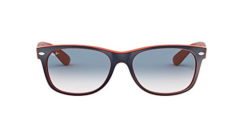 Ray-Ban unisex adult Rb2132 New Wayfarer Gradient Sunglasses, Blue on Orange/Clear/Blue Gradient, 52 mm US
