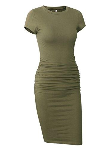 Missufe Women's Ruched Casual Sundress Midi Bodycon Sheath Dress (Army Green, X-Small)