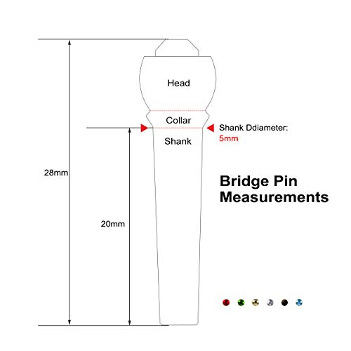 lotmusic Guitar Bridge Pins for Acoustic Classical Guitar Brass with Colourful Crystal Inlay Slotted