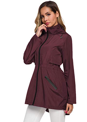 ZHENWEI Lightweight Rain Jacket Women Foldable Long Rain Coats Waterproof Anorak Wine Red S