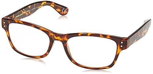 Foster Grant Conan Multifocus Reading Glasses Rectangular, Shiny Tortoise/Transparent, 54 mm + 2