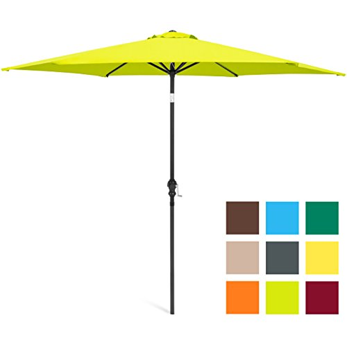 Best Choice Products 10-Foot Outdoor Table Compatible Steel Polyester Market Patio Umbrella w/Crank and Easy Push Button Tilt, Light Green