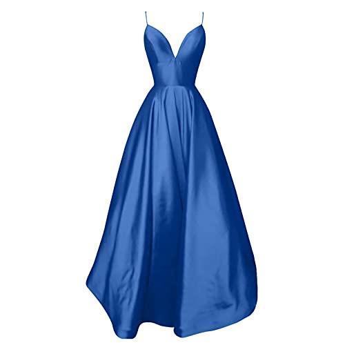 VEMOW Vestido Cruzado sin Mangas para Mujer A-Line V-Neck Swing Party Falda Larga de Cóctel Boda Evento con Cuello en V sin Mangas, Color Sólido de Noche con Tirantes(A Azul,S)
