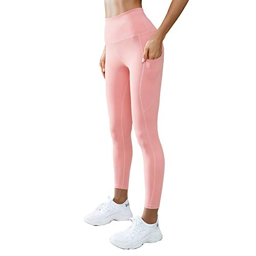 Y-H-X Leggings de Yoga de Cintura Alta para Mujeres con 2 Bolsillos, Entrenamiento de Control de la Barriga Pantalones de Funcionamiento, Leggings atléticos,Rosado,S