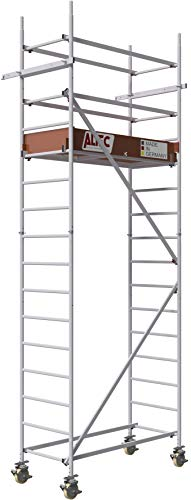 ALTEC Rollfix® 2.0 500 | 5m Arbeitshöhe | bremsb. Lenkrollen (Ø150mm) | Wandanker | Made in Germany | TÜV&GS | belastbar 200kg/m² | Norm - EN 1004:2005 | Modulares Alu Arbeitsgerüst | Baugerüst