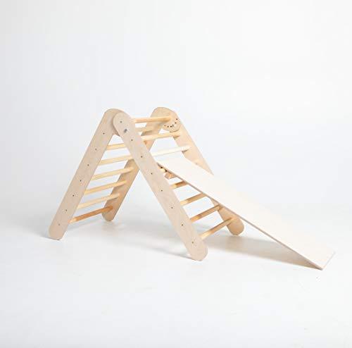 Sweet Home from wood Triángulo Pikler - Triángulo de Escalada Plegable - Parque Infantil Interior de Madera (con rampa)