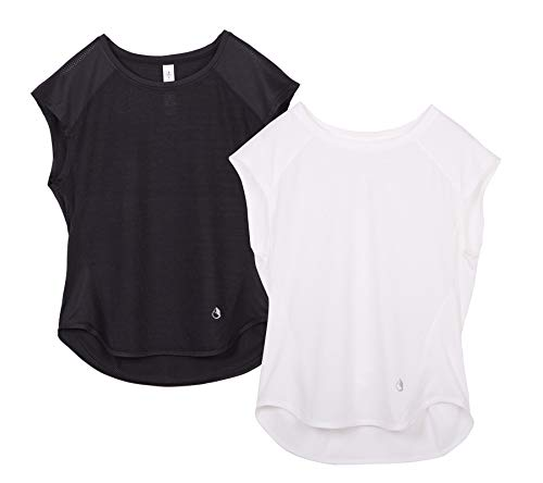 icyzone Workout T-Shirt for Women - Fitness Gym Yoga Running Exercise Cap Sleeves Tops (Pack of 2) (M, Black/White)