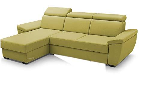 MOEBLO Sofa mit Schlaffunktion und Bettkasten, Couch für Wohnzimmer, Schlafsofa Federkern Sofagarnitur Polstersofa Wohnlandschaft mit Bettfunktion - Alano (Gelb, Ecksofa Links)