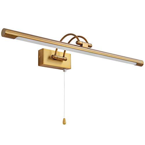 MantoLite Wandleuchte 12W,Metall Badezimmer Spiegel-Leuchte,LED-Bilderleuchte mit schwenkbarem Lampenkopf und Zugschalter,Arc Arm 840LM 60CM Warmweiß Lampe Nachttisch Leseleuchte(Messing, IP44)