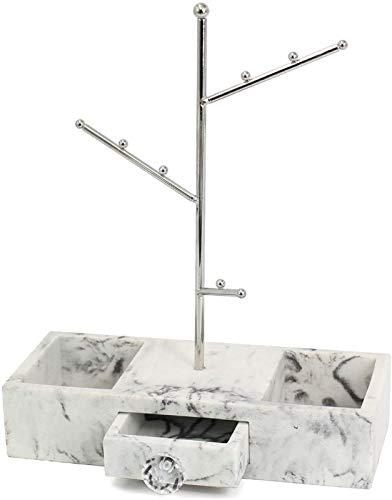 Nuevo Estante de exhibición de Joyas, Perchero de Almacenamiento de Joyas, Patrón de mármol Pantalla de exhibición de Plata (Color : Silver)