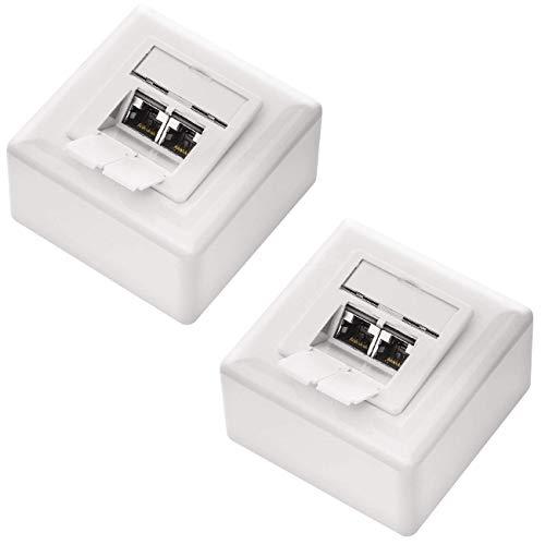 deleyCON 2X CAT 6a Universal Netzwerkdose - 2X RJ45 Port - Geschirmt - Aufputz oder Unterputz - 10 Gigabit Ethernet Netzwerk - EIA/TIA 568A&B - Weiß
