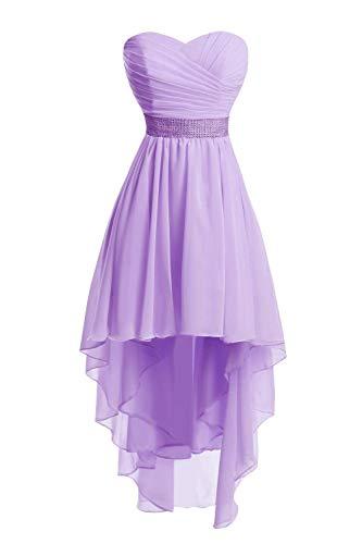 JAEDEN Ballkleider Damen Brautjungfernkleid Hochzeit Partykleid Herzausschnitt Abendkleid Vorne Kurz Hinten Lang Lila EUR36
