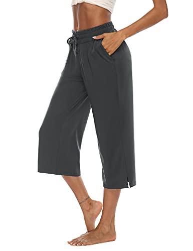 DIBAOLONG Capris for Women Casual Summer Wide Leg Capri Pants Loose Comfy Drawstring Lounge Yoga Crop Pants with Pockets Darkgray XL