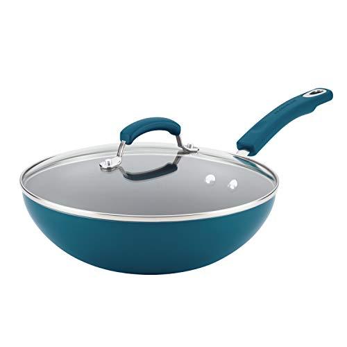 Rachael Ray 17648 Brights Nonstick Wok/Stir Fry Pan/Wok Pan with Lid - 11 Inch, Marine Blue Gradient