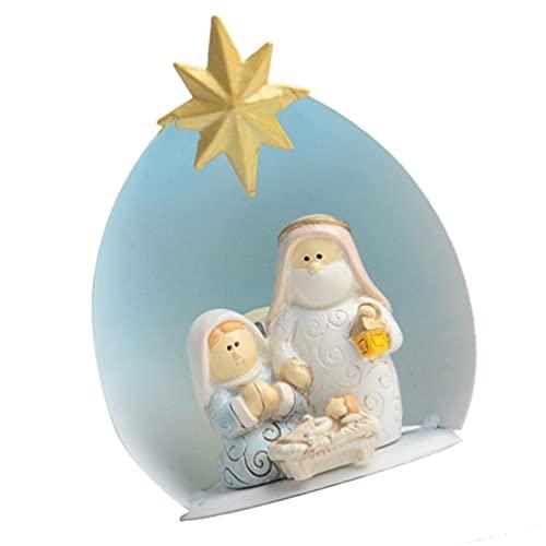 IMIKEYA Escena de Natividad de Navidad Iluminada Estatua de La Estatuilla de La Virgen María Lámpara de La Estatua de Jesús Escultura de Artesanías para La Práctica del Boceto de La