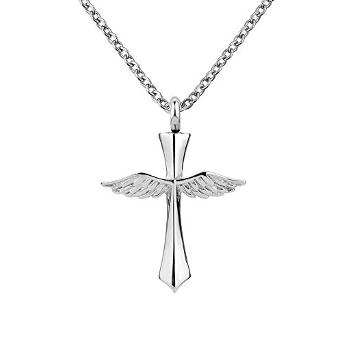 UNIQUEEN Angel Wings Cross Urn Necklace Pendant Religious Cross Ashes Holder Cremation Jewellery (Angel Wings)
