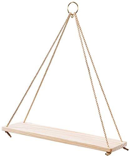Verkoopstandaard voor decoratie voor thuis, henneptouw, wandwand van hout, scheidingswand, plank, bewaarkast, decoratief design (afmetingen: 35 x 14 cm) 45x15cm