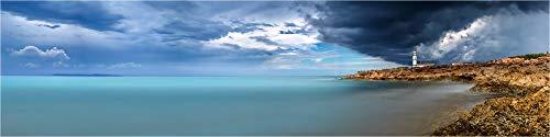 Cuadro panorámico de cristal acrílico, diseño de paisaje de la tormenta SES Salinas Mallorca, imagen de alta calidad, calidad de galería, cristal acrílico sobre aluminio Dibond©