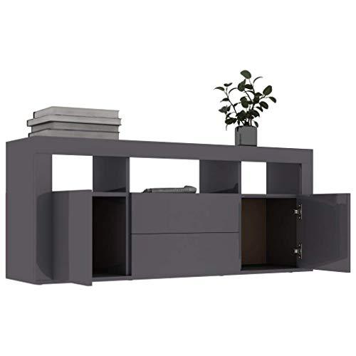 Mueble bajo para TV, 120 x 30 x 50 cm, Armario de televisión con 2 Cajones, 2 Puertas y 3 Compartimentos Abiertos, Alto Brillo Gris