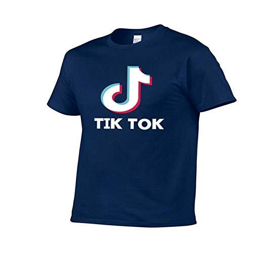 100% algodón Hombres Camiseta Moda Casual Tok-TIK música Danza Divertida Camiseta Adolescente Harajuku Ropa Camisetas XXL Navyblue