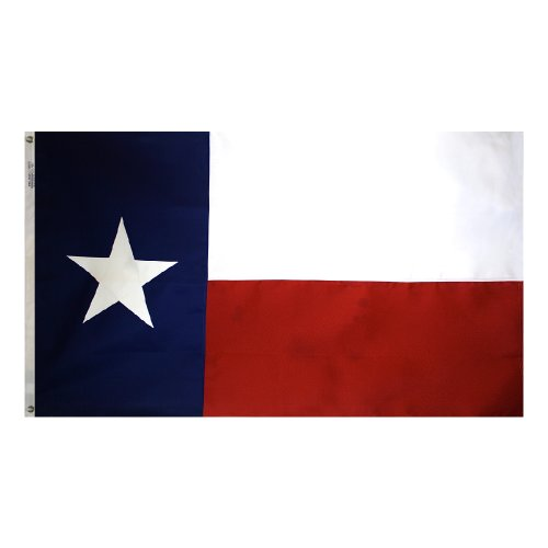 Annin Flagmakers Model 145305 Texas State Flag- 3x5 ft. Tough-Tex, the Strongest, Longest Lasting Flag, 100% Made in USA to Official State Design Specifications. Sewn Stripe and sewn Appliqued Star with Brass Grommets.