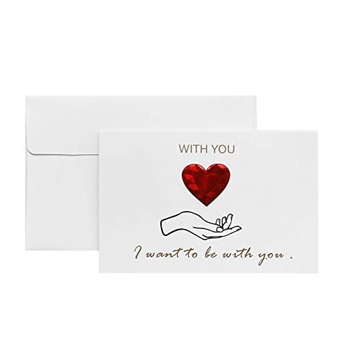 Lucaso グリーティングカード ロマンチック アルファベット ピーチハート 告白 LOVE ウェディング・アニバーサリー・母の日・ガールフレンドへのグリーティングカード バレンタインギフト 封筒付き 1CEC (A)