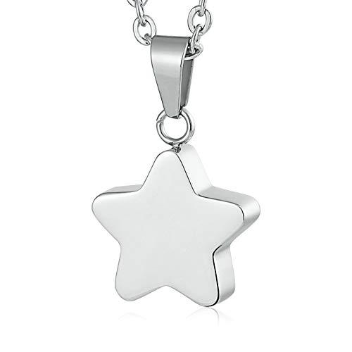 Daesar Collar de Hombre Acero Inoxidable Estrella Ceniza Collar Se Puede Grabar Colgante Collar Plata