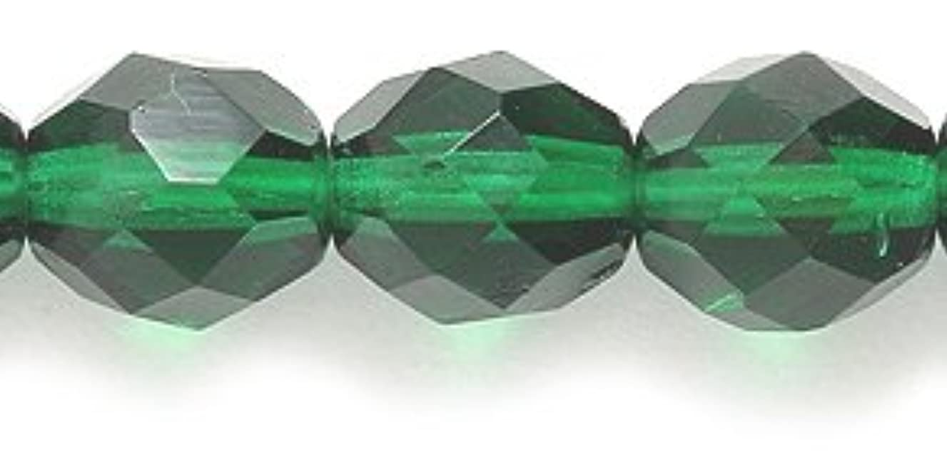 Preciosa Czech Fire 8mm Polished Glass Bead, Faceted Round, Transparent Green, 100-Pack