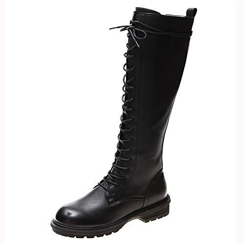 Rijlaarzen met lage hak, veter- en ritssluitinglaarzen, zwart, modieuze dames-knielaarzen, zachte en ademende bovenvoeten, hoogglanzend materiaal. 40 EU