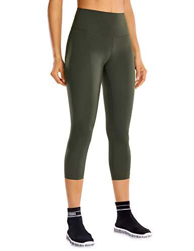 CRZ YOGA Mujer Compresión Mallas Largos Pantalones Deportivos Cintura Alta con Bolsillo-53cm Verde Oliva 44