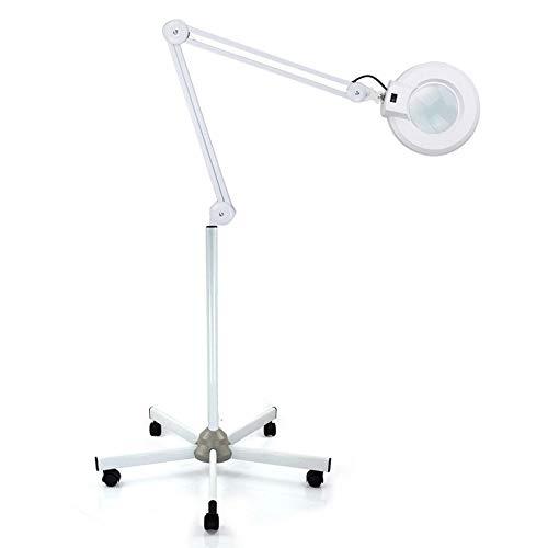 Yunrux - Lámpara de pie con brazo articulado, 18 W, 8 aumentos, LED, lupa de 235 mm, lente de 5 dioptrías, lámpara de pie con iluminación, luz fría