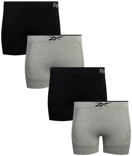 Reebok Women's Underwear – Performance Seamless Boyshorts (4 Pack), Size Medium, Grey/Black