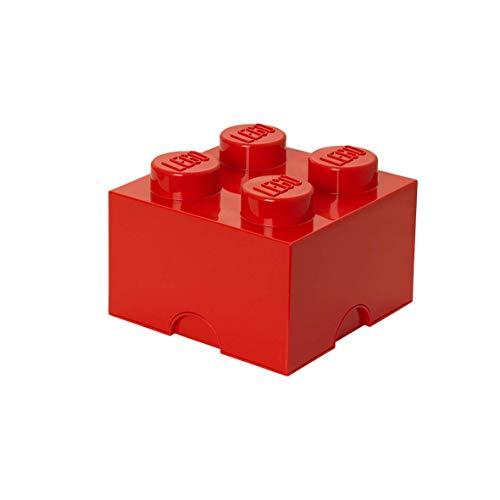 Room Copenhagen L4003R LEGO Aufbewahrungsstein, 4 Noppen, Stapelbare Aufbewahrungsbox, 5,7 l, rot