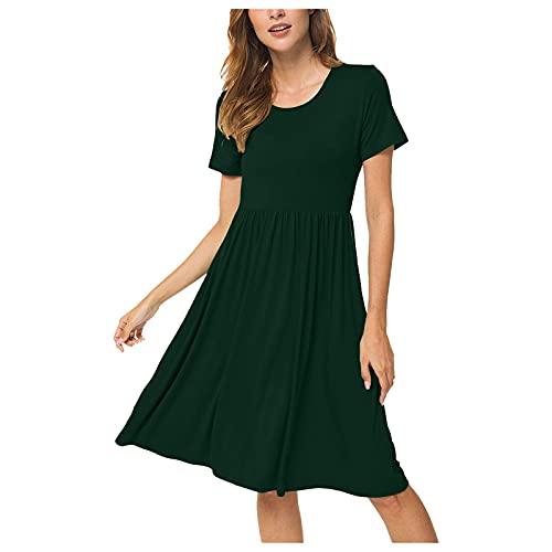 Xmiral Kurzarmkleider für Damen Sommer Beiläufig Hohe Taille Taillenkleid mit Taschen(b-Grün,L)
