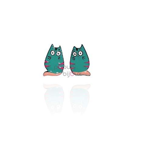 LOL BIJOUX – Pendientes de Gato – Turquesa – POpup-Bijoux