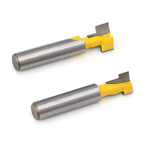 2 STÜCKE 8mm Schaft T-Nut Fräser Holzschneider Fräser mit Hoher Zähigkeit Mayitr (gelb & silber)