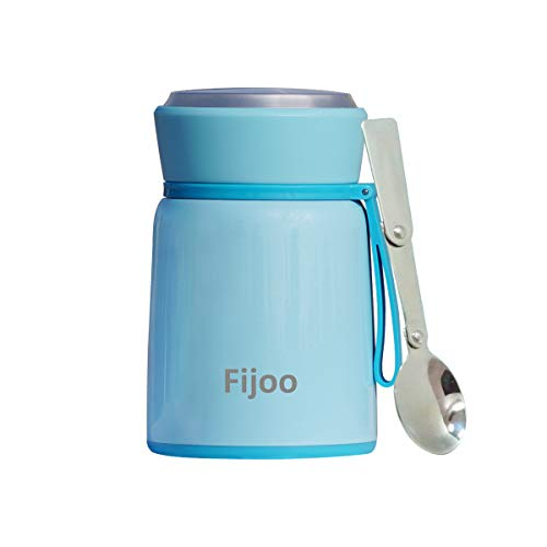 Best Stainless Steel Soup Thermos Food Jar Folding Spoon -Triple Wall Vacuum Insulated - Hot Soup & Cold Meals Storage Container Jar - Kid's School Lunch, No Leaks, BPA Free (Blue, 17.8 OZ / 530 ML)