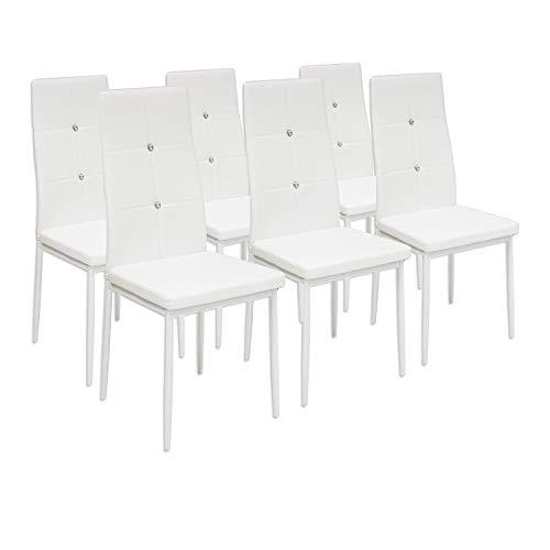 Albatros 3099 Diamond Set de 6 sillas de Comedor, Blanco, SGS Tested