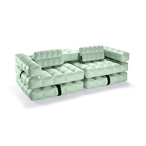 Pigro Felice - Modul'Air 3-en-1 Piscine Canapé Gonflable - Matelas Flottant - Double Chaise Longue - Matériaux résistants - Longue Durée de Vie - Premium - Vert Olive