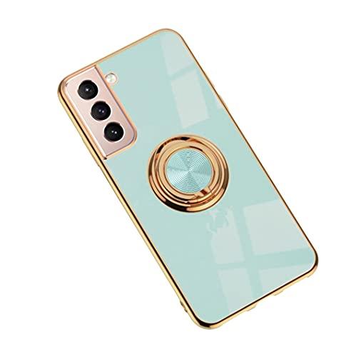 Jacyren Funda para Samsung Galaxy S21 Plus, Galaxy S30 Plus, funda protectora S21 ultrafina, de silicona, soporte magnético para coche, con soporte para dedos de 360°, color cian claro