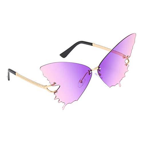 F Fityle Gradient Butterfly Lens Gafas de Sol Sin Montura Diseñador Summer Shades Gafas Teñidas para Mujeres Señoras - Gradient Purple