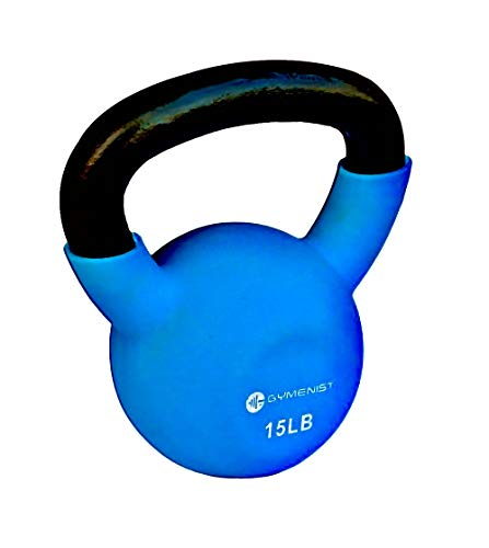 GYMENIST Kettlebell Fitness Iron Weights with Neoprene Coating Around The Bottom Half of The Metal Kettle Bell (15 LB)
