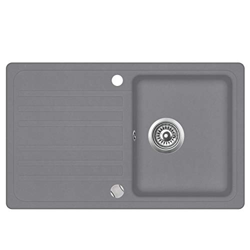 Granit Einbauspüle Küchenspüle Spülbecken Spüle mit Abtropffläche silber 76,5 x 46 cm